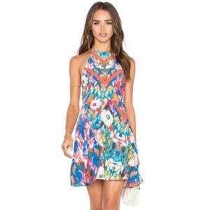 NBD x Naven Floral Print Halter Fit Flare Dress